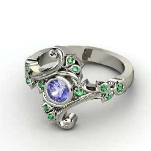 Ring, Round Tanzanite 14K White Gold Ring with Emerald Jewelry