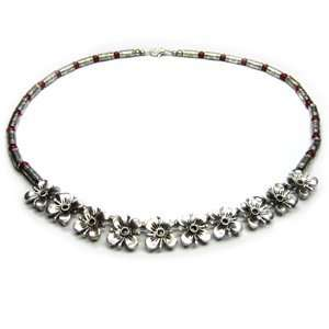 Tibetan Silver Necklace with 10 Petite Silver Flowers