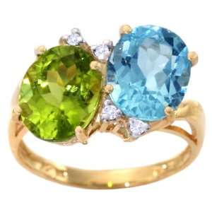 Oval Gemstone Ring with Diamonds Multi Peridot Sky Blue Topaz, size6.5
