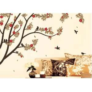 X Large Contemporary Trees Colorful Leaves and Birds Wall