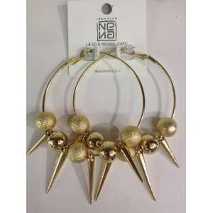 new spike hoop earring with gold color in 2.5inches