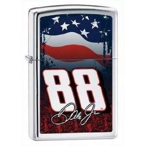 Dale Earnhardt Jr Flag Zippo Lighter, High Polish Chrome