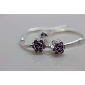 Antique Silver Purple & Violet Flower Charm Spacer Bead Fits Pandora