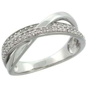 14k White Gold Bridge Ring Band w/ 0.25 Carat Brilliant Cut Diamonds