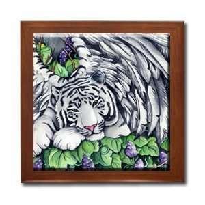 Kat ~ White Tiger ~ Ceramic Wood Tile Box AIS25BX By Abranda Scisson
