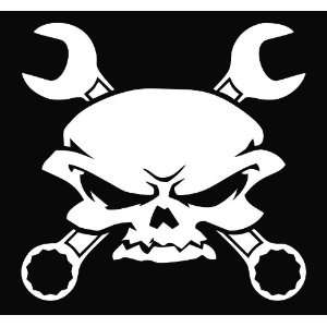 Skull Wrench Crossbones Vinyl Die Cut Decal Sticker