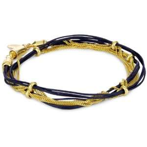 Accessories & Beyond Navy Blue Cord And Gold Tone Chain