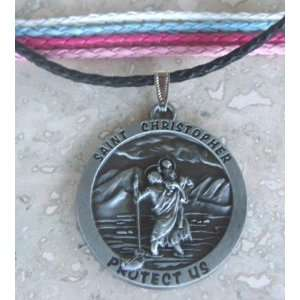 Saint Christopher Protect Us Leather Cord Necklace   Brand New