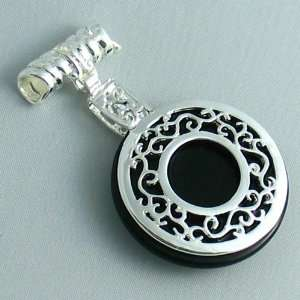 Silver Plated Black Agate Pendant Circle with Ornate