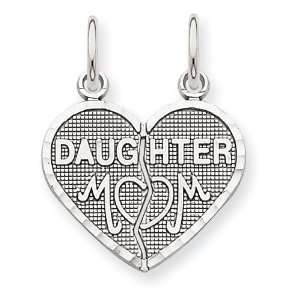 Polished Textured Daughter/Mom 2 Piece Break Apart Heart Cha Jewelry