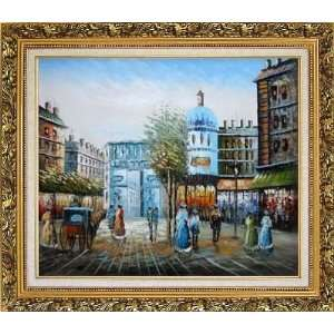 Paris Street Scene Oil Painting, with Ornate Antique Dark