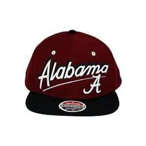Script University Of Alabama Crimson Tide Snapback Hat Burgundy. Size