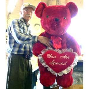LARGE 36 BIG SOFT RED SPARKLE TEDDY BEAR HOLDING PLUSH