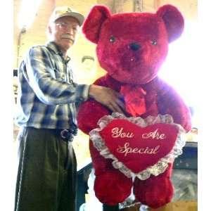 LARGE 36 BIG SOFT RED SPARKLE TEDDY BEAR HOLDING PLUSH