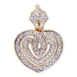 C.Z. Diamond Two Tone Eternal Open Heart Pendant Jewelry