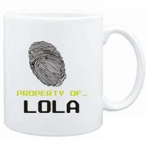 Mug White  Property of _ Lola   Fingerprint  Female