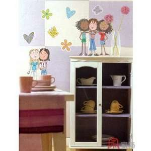 Art Wall Paper Stickers fashionable girls IHS 309