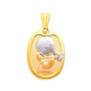 14K 3 Tri color Gold Religious Praying Girl Charm Pendant