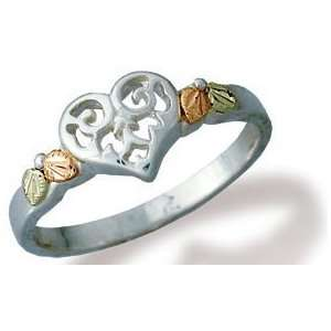 Filigree Heart Silver Black Hills Ring: Jewelry
