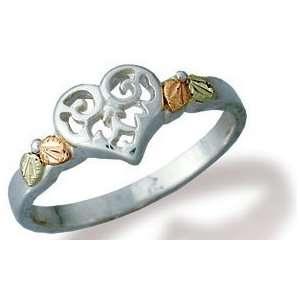 Filigree Heart Silver Black Hills Ring: Jewelry