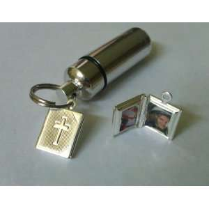 com Personal Cremation Urn with Bible Locket   Holds 2 Photos Inside