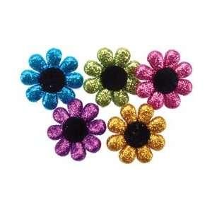Jesse James Dress It Up Embellishments Glitter Flowers; 6 Items/Order