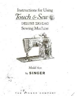 SINGER 600 MODEL SEWING MACHINE MANUAL Bound Photocopy