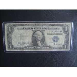 One Dollar Star Note Series 1935 E $1 Bill Note Silver Certificate