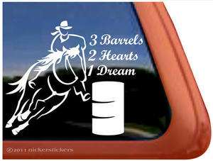 BARRELS, 2 HEARTS, 1 DREAM Barrel Racing Horse Trailer Window Decal