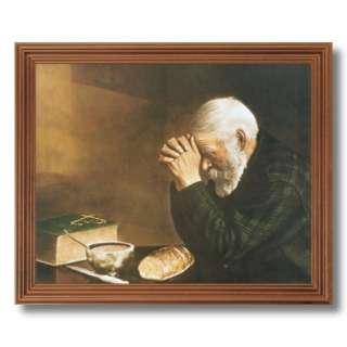Daily Bread Man Praying At Dinner Table Grace Religious