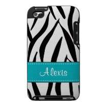 Aqua Blue Zebra Print iPod Touch Case Cover 4g 4th by cutecases