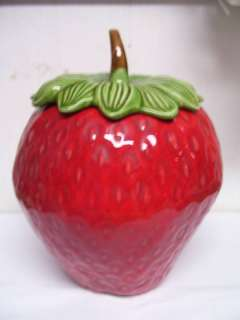 Vintage Strawberry Cookie Jar California Pottery USA