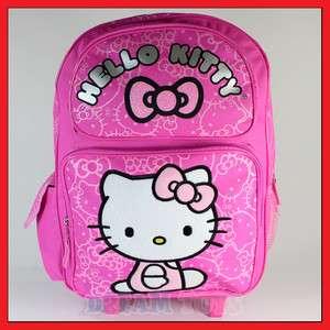 Kitty Pink Glitter Roller Backpack   Rolling Girls Bag LARGE