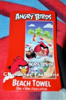 ANGRY BIRDS BEACH BATH POOL Towel SWIM BEDDING BLANKET RED BLUE BLACK