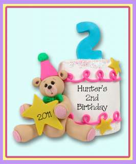 PERSONALIZED BIRTHDAY CAKE CHRISTMAS ORNAMENT Polymer Clay by Deb & Co