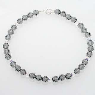 Handmade Swarovski Black Crystal Earrings Necklace Set