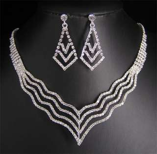 Wedding/Bridal crystal necklace earrings set S340