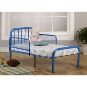 Blue Finish Metal Toddler Bed Frame with Rails: Baby