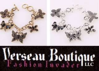 NEW Antique Look Butterfly Charm Bracelet   Silver/Gold