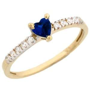 14k Gold September Birthstone Synthetic Sapphire Heart Ring Jewelry