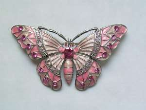 Crystals Butterfly Pins,Brooch 249C Carnation Pink Rosy