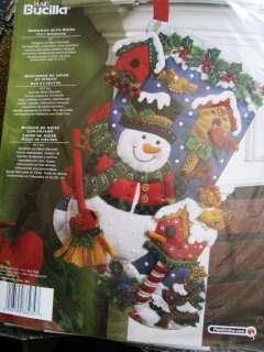 Christmas Bucilla Felt Applique Stocking Kit,SNOWMAN WITH BIRDS