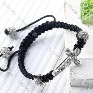 Clear Disco Ball Hip Hop Crystal Cross Bead Macrame Bracelet Bangle