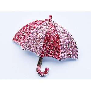 Sparkle Crystal Rhinestone Embedded Umbrella Fashion Custom Pin Brooch