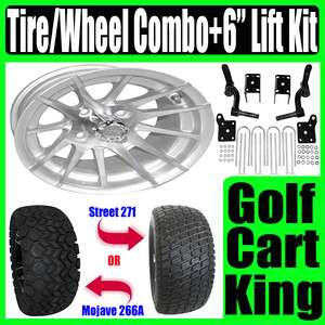 EZGO Golf Cart Lift Kit Silver 12 Wheel and Tire Combo