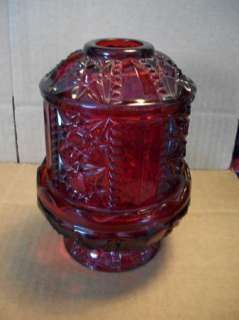 Red Glass Fairy Lamp Candle Holder