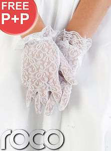 WHITE LACE WEDDING PROM BRIDESMAID COMMUNION FORMAL GLOVES