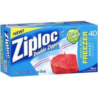 Ziploc Fresh Shield 1 Quart Double Zipper Heavy Duty Freezer Bags, 40