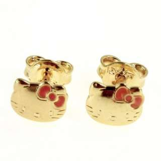 Gold 18k GF Funny Pink Enamel Earrings Hello Kitty Childs Girl Push