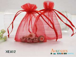 Red Organza Gift Bags Wedding / JEWELRY Favor Pouches 3.5x3 / 7x9cm
